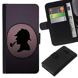 KingStore / Leather Etui en cuir / Samsung Galaxy Core Prime / Detective divertido