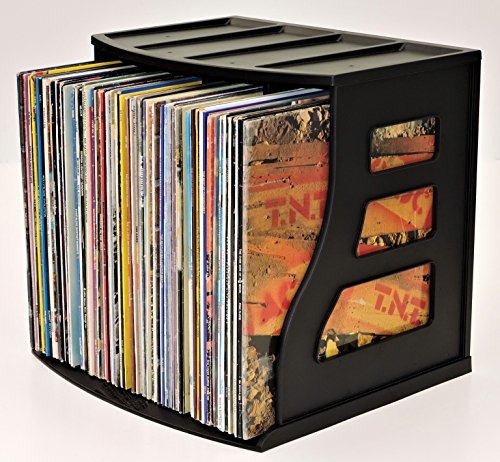 Stackable Vinyl Record Storage Crate LP Album Holder Book Shelf Organizer Desktop Ring Binder Lever Arch Rack Scrapbook 12x12 Paper Storage Display Stand Cube (Vinyl Storage Racks)
