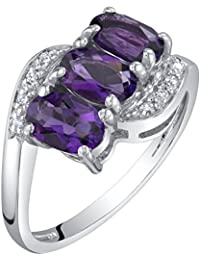 14K White Gold Diamond and Genuine or Created Gemstones Three Stone Anniversary Ring Oval Shape Sizes 5 to 9