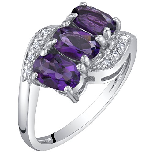 Genuine Ring Stone (14K White Gold Genuine Amethyst and Diamond Three Stone Anniversary Ring 1.25 Carats Oval Shape Size 6)