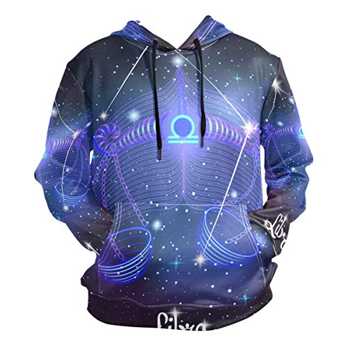 Constellation Zodiac Sign Libra Men's Pullover Hooded Sweatshirt