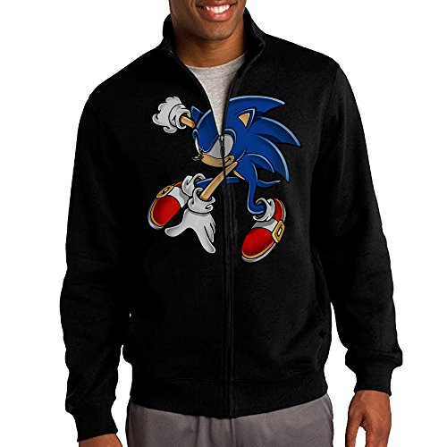 Price comparison product image Simoon Sonic The Hedgehog Men's Solid Stand Collar Zipper Jacket Size L