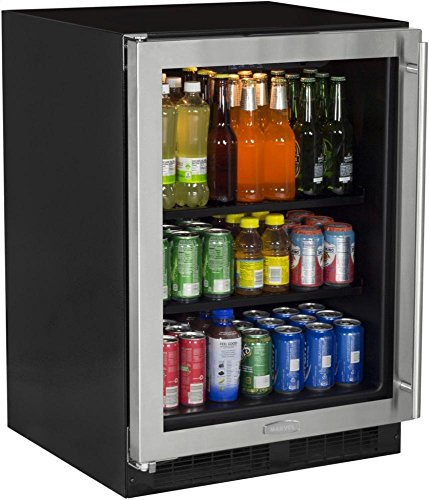 Marvel ML24BCG0LS Beverage Center, Stainless Frame Glass Door, Left Hinge, 24-Inch, Stainless Steel ()