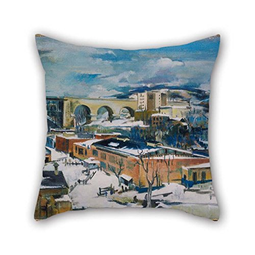 TonyLegner Throw Pillow Case 18 X 18 Inches / 45 by 45 cm(Both Sides) Nice Choice for Chair Car Dinning Room Teens Boys Boys Wedding Oil Painting Preston Dickinson - Winter, Harlem River -