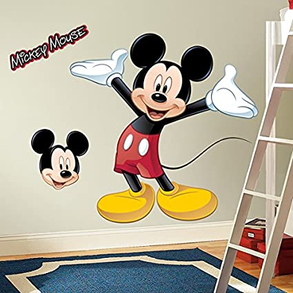 600b44733 RoomMates Mickey Mouse Peel and Stick Giant Wall Decal - Wall Decor  Stickers - Amazon.com