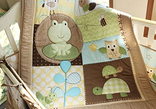 NAUGHTYBOSS Unisex Baby Bedding Set Cotton 3D Embroidery Frog Tortoise Owl Quilt Bumper Bedskirt Fitted Blankets Diaper Bag 9 Pieces Green by NAUGHTYBOSS (Image #2)