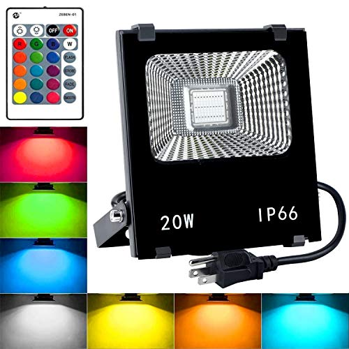 (RGB LED Flood Lights,20W Outdoor Color Changing Floodlight with Remote Control,IP66 Waterproof Stage Lights,16 Colors 4 Modes Dimmable Wall Washer Light,with US 3-Plug (RGB) )