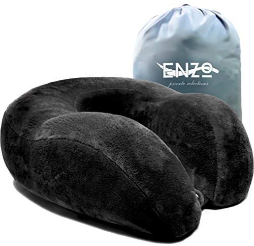 Enzos Private Selection Cooling Gel Memory Foam Travel Neck Pillow  Grey
