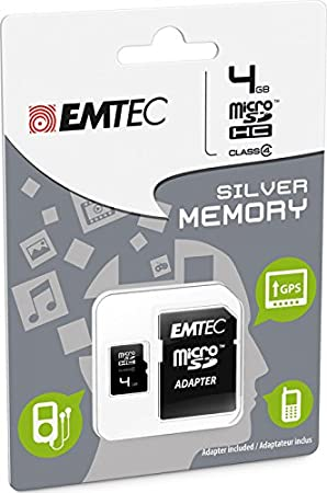 Emtec 4GB microSD 4GB MicroSD Class 4 memoria flash - Tarjeta de memoria (MicroSD, Class 4, Negro, Ampolla)