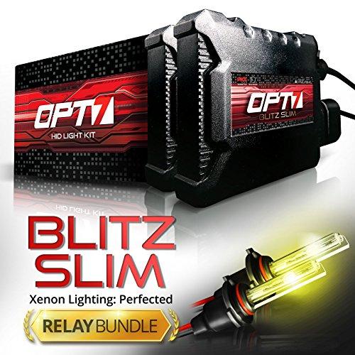 Hid Lighting Kit - OPT7 Blitz 35w Slim H1 HID Kit - Relay Bundle - All Bulb Sizes and Colors - 2 Yr Warranty [3000K Yellow Xenon Light]