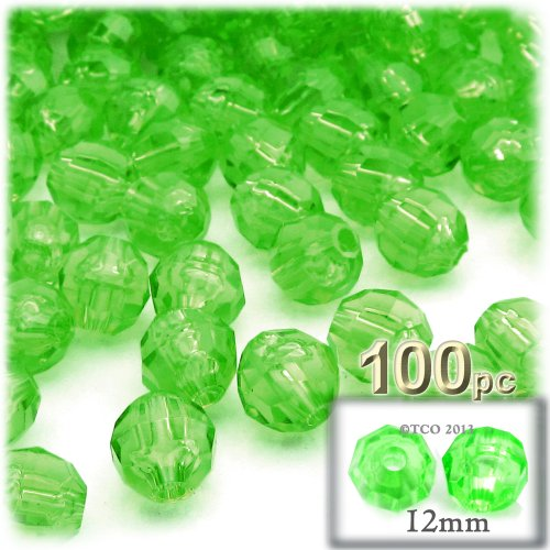 The Crafts Outlet 100-Piece Faceted Plastic Transparent Round Beads, 12mm, Light Green