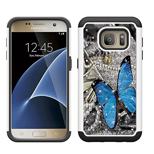 S7 Case, Galaxy S7 Case, UrSpeedtekLive [Shock Absorption] Dual Layer Hybrid Defender Protection Rhinestone Crystal Bling Cover Case for Samsung Galaxy S7 (Not for S7 EDGE,S7 ACTIVE) Blue Butterfly