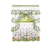 #10: Butterflies Floral Prairie Complete 5 Pc. Cottage Kitchen Curtain Set by GoodGram - Assorted Sizes (36 in. Long)