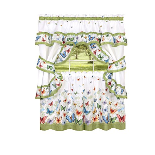GoodGram Butterflies Floral Prairie Complete 5 Pc. Cottage Kitchen Curtain Set by Assorted Sizes (36 in. Long)