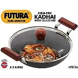 Hawkins Futura Aluminium Deep-Fry Pan with Glass Lid, 2.5 L, Black