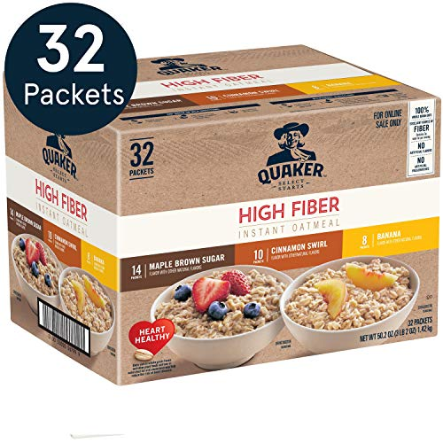 Quaker Instant Oatmeal, High Fiber 3 Flavor Variety Pack, Individual Packets, 32 Count