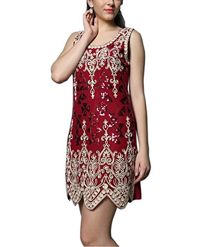 Whitewed Retro Vintage Gatsby Clothing Flapper Dresses From the 20's 1920s , Red, One (Gatsby Dresses For Sale)
