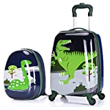 X-tag 2 Pcs Kids Luggage Set 18' Suitcase and 13' Backpack Rolling Wheels