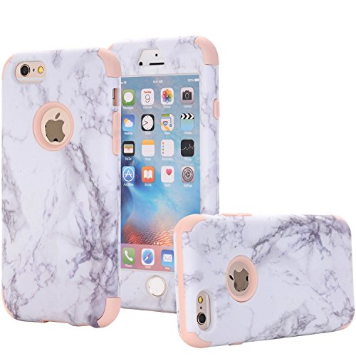 iPhone 6/6S Plus Case, Arukas Marble Design Ultra Slim Scratch Resistant Hybrid Hard PC Back Cover Soft Silicone Bumper Shockproof Protective Case for iPhone 6/6S Plus (5.5 Inch) (marble rose - Blue Rose Gold Navy