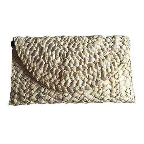 Milky Way Straw Clutch Handbag Retro Women Straw Purse Envelope Bag Envelope Flap Clutch Purse Summer Beach Bag ()