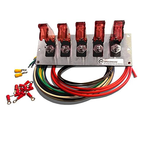 - MGI SpeedWare 5 Gang Toggle Switch Panel Wiring Kit, Safety Flip Covers (Red)