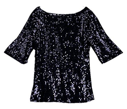 Tops Mezza Manica Camicie Camicetta Donna Moda Paillettes Sciolto Casual Shirts Maglietta Bluse Estivo Girocollo Nero T Monika 0qSw4gfxn