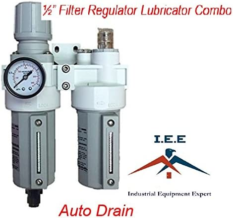 """1//2/"""" HEAVY DUTY COMBO PARTICULATE FILTER REGULATOR LUBRICATOR WITH AUTO DRAIN"""