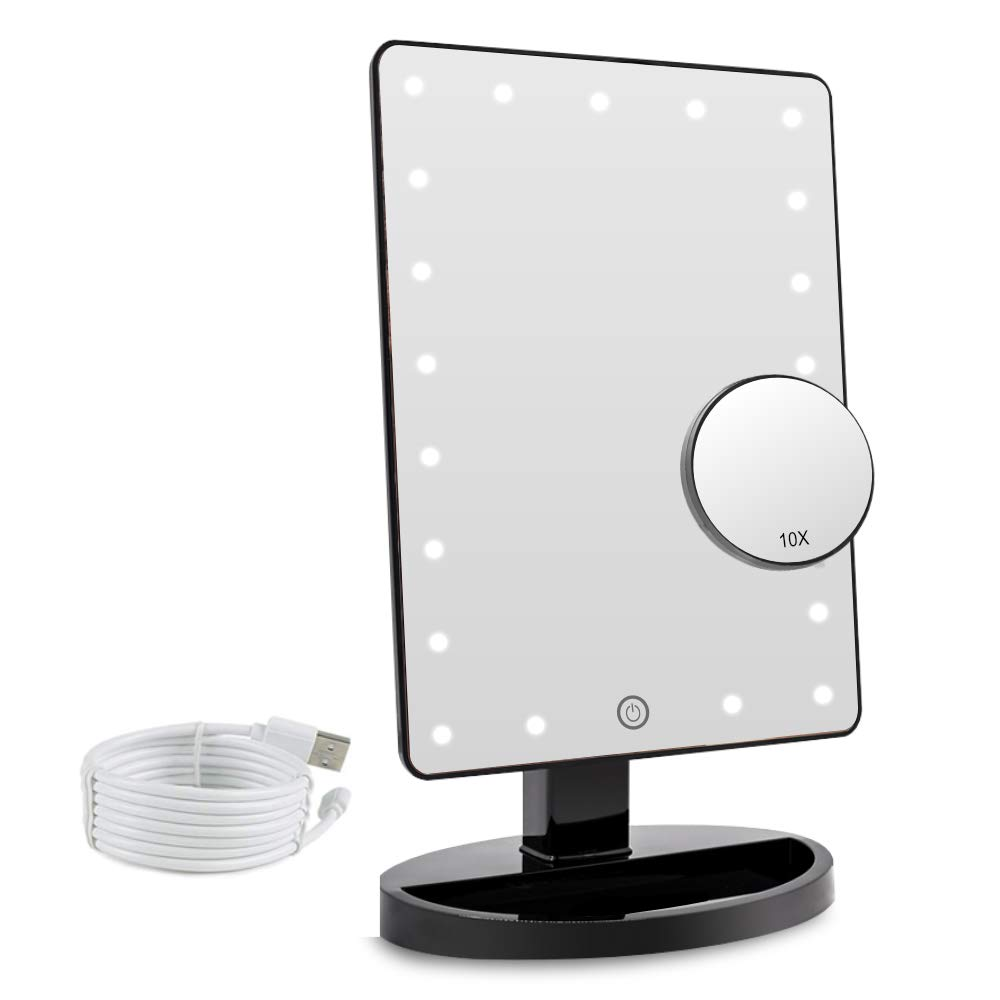 Makeup Vanity Mirror with Lights, 21 LED Lighted Mirror with Detachable 10X Magnification, Touch Screen, 180 Degree Rotation, Portable Cosmetic Mirror Black