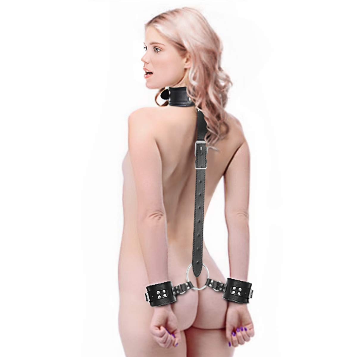 Neck to Wrist Restraints kit, Sexy Slave Frisky Beginner Behind Back Handcuffs Collar, Adjustable Bondage Set, Couple SM Sex Game Tool(Black) by SEXY SLAVE