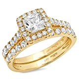 Clara Pucci 1.5 CT Princess Cut Pave Halo Bridal Engagement Wedding Ring band set 14k Yellow Gold, Size 6.5