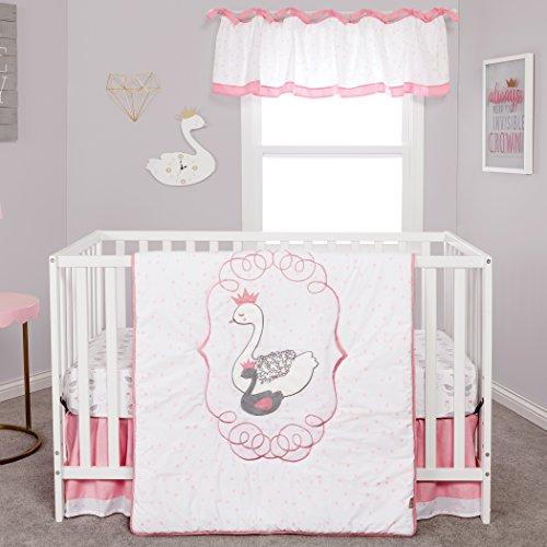Trend Lab Swans 3 Piece Crib Bedding/Nursery Bedding Set, White/Pink ()