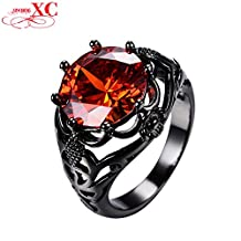 Myn Jewelry Vintage Hollow 5 Color Zircon Ring /Men Wedding Ruby Jewelry 10KT Black Gold Filled Big Crystal 8 Claw Ring RB0675
