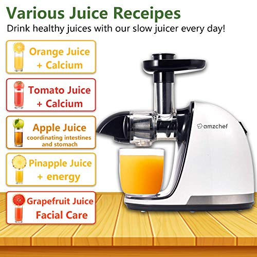 Slow Juicer,AMZCHEF Slow Masticating Juicer Extractor Professional Machine with Quiet Motor/Reverse Function,Cold Press Juicer with Brush,for High Nutrient Fruit & Vegetable Juice by AMZCHEF (Image #6)