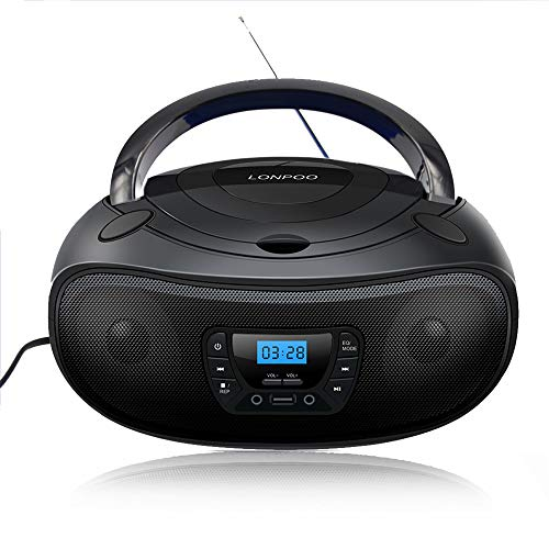 lonpoo tragbarer cd player boombox bluetooth mit cd radio. Black Bedroom Furniture Sets. Home Design Ideas