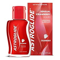 Astroglide Strawberry Liquid - Water Based Personal Lubricant with Strawberry Flavoring - Long-Lasting, Latex-safe Lube Cleans Up Easily!