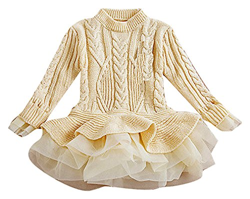 cable knit tiered sweater dress - 8