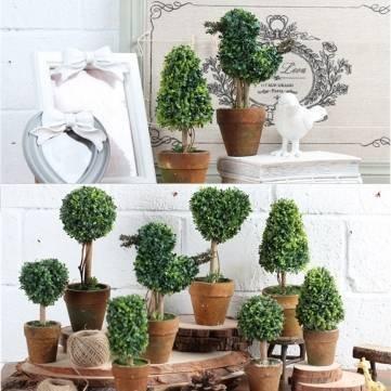 Home Decor Artificial Potted Plant Plastic Garden Grass Ball Topiary Tree Pot Home Desk Decor