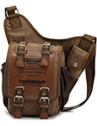 140f52b8f9bc Retro Casual Shoulder Backpack Sports Canvas Handbag Crossbody Messenger Bag  Chest Pack for Men (Khaki02