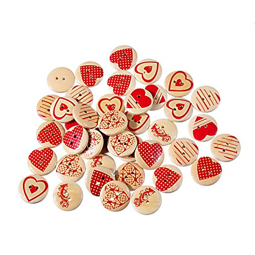 2016 Hot 50Pcs Wooden Buttons Red Heart Pattern Decorative Buttons 2-Hole Fit Sewing Scrapbooking Craft Diy 20Mm Mixed^.