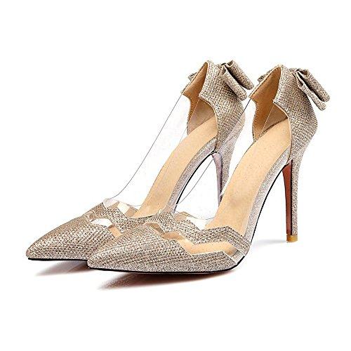 High Heel Women's with Bowknot Sandals Eclimb Shoes Derss Pumps Gold ZIwFx