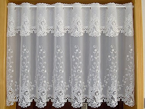 Rural half-curtain elegant lace hem lace coffee pro window curtains for doors, kitchen cabinets, A-114. (114 Pull)