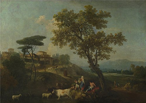 Oil Painting 'Francesco Zuccarelli - Landscape With Cattle And Figures,about 1750-70' 8 x 11 inch / 20 x 29 cm , on High Definition HD canvas prints, gifts for Bed Room, Home Office And Home T decor