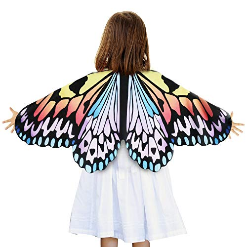 Butterfly Wings for Girls,Kids Fairy Dress up Costume Pretend Play Party Supplies (Rainbow)]()