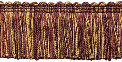 Purple|Style#: 0200AXB |Color: Cerise LX09 Camel Beige 21763 Alexander Collection 2 inch Brush Fringe Trim|Black Cherry Red 15 ft//4.6 M D/ÉCOPRO 5 Yard Value Pack