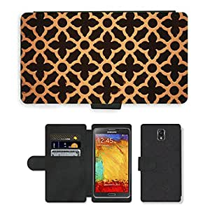 PU LEATHER case coque housse smartphone Flip bag Cover protection // M00151946 Patrones de madera floral de Brown // Samsung Galaxy Note 3 III N9000 N9002 N9005