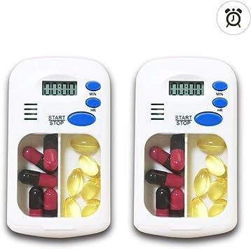 Caja de pastillas digital electrónica portátil Temporizador de píldoras con temporizador/Alarma de recordatorio inteligente, con 2 compartimentos (2 unidades): Amazon.es: Salud y cuidado personal