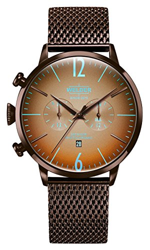 Welder Moody Stainless Steel Brown Mesh Dual Time Watch with Date 45mm