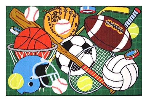 Sports Themed Children and Kids Living Space Accent Area Rug With Latex Backing Featuring Basketball Football, Baseball, Soccer, Tennis, Volleyball, and Hockey Imagery- FT-124 - 39'x58'