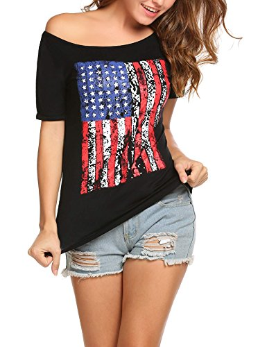 EASTHER Womens American Flag Printing Short Sleeve Cold Shoulder Casual Blouse T-Shirt Tops