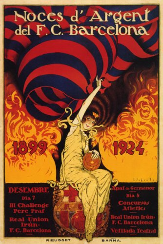 FUTBOL CLUB BARCELONA 1924 SPAIN TWENTY-FIVE YEARS ANNIVERSARY SPANISH SOCCER 20'' X 30'' IMAGE SIZE VINTAGE POSTER REPRO by WONDERFULITEMS